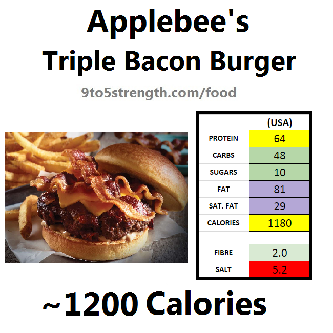 applebee's nutritional information calories triple bacon burger