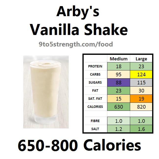 arby's nutrition information calories vanilla shake