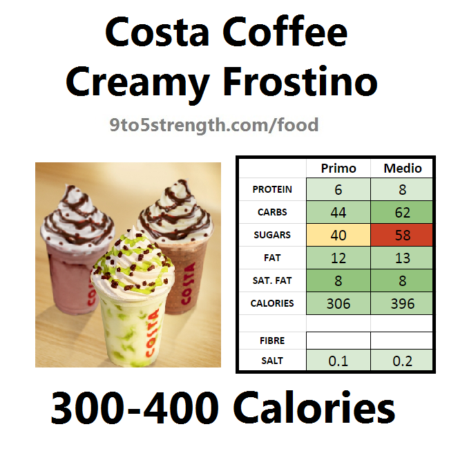 nutrition information calories costa coffee creamy frostino