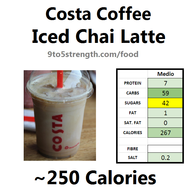 nutrition information calories costa coffee iced chai latte