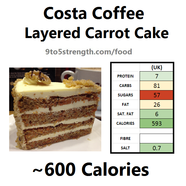 nutrition information calories costa coffee layered carrot cake