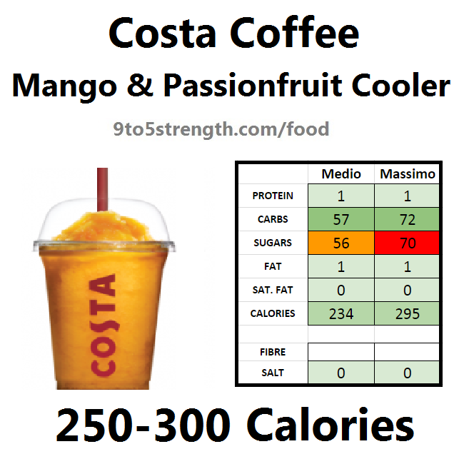 nutrition information calories costa coffee mango passionfruit cooler