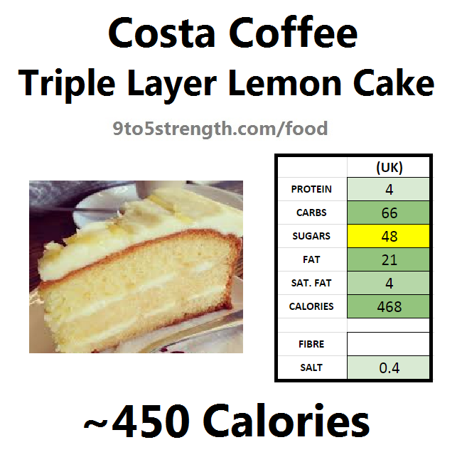 nutrition information calories costa coffee triple layer lemon cake