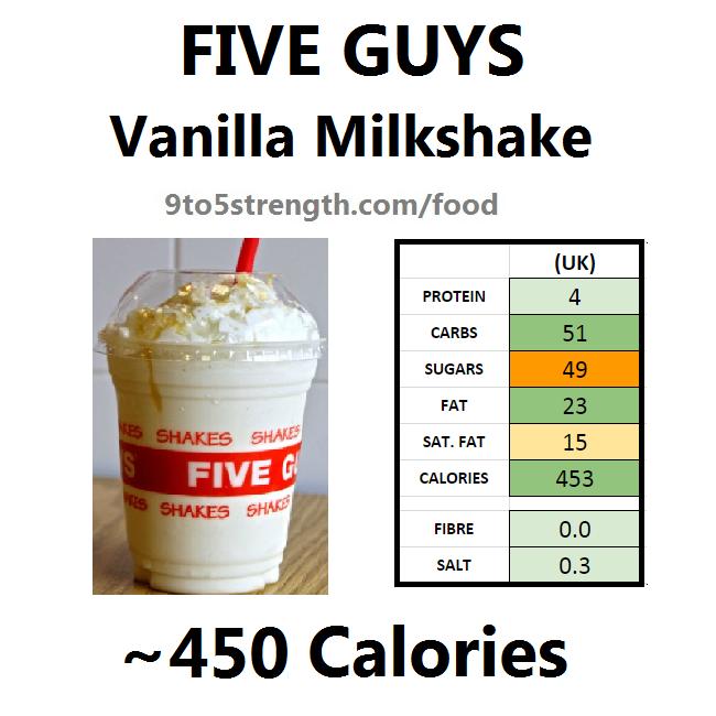 five guys calories nutrition information vanilla milkshake