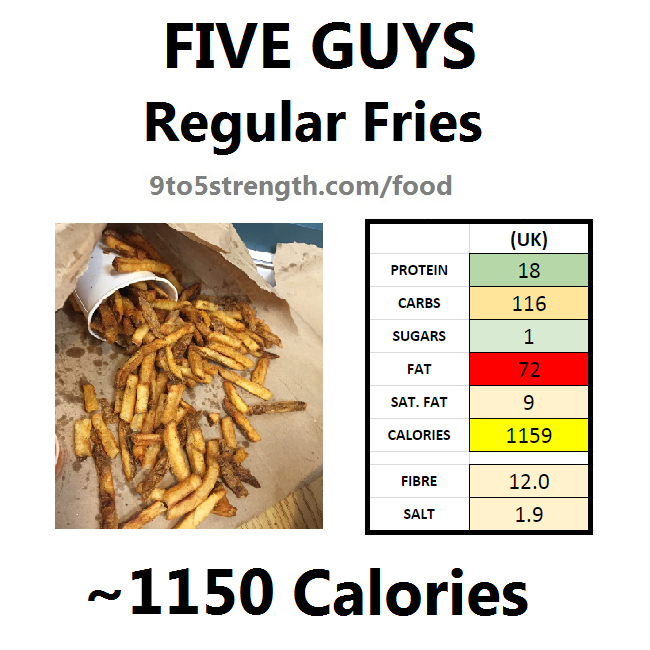 five guys calories nutrition information regular fries