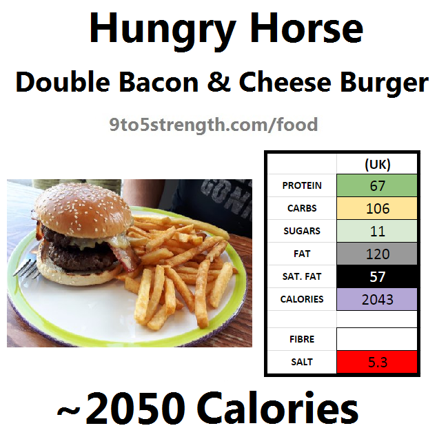 hungry horse nutrition information calories double bacon cheese burger