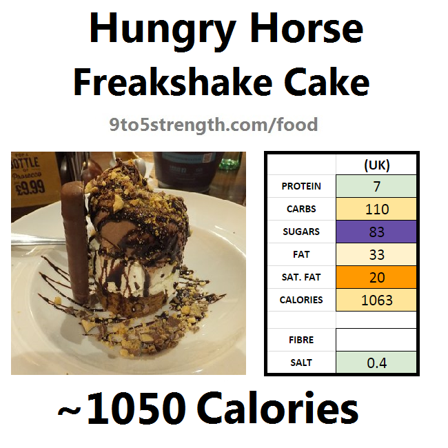 hungry horse nutrition information calories freakshake cake