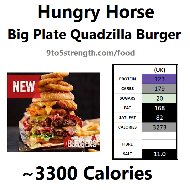 hungry horse nutrition information calories quadzilla burger