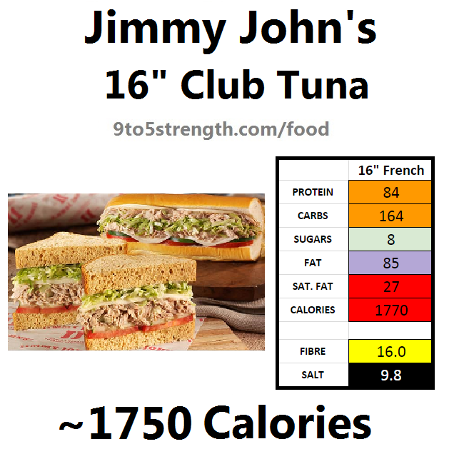 jimmy john's nutrition information calories club tuna
