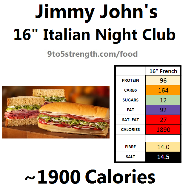 jimmy john's nutrition information calories italian night club