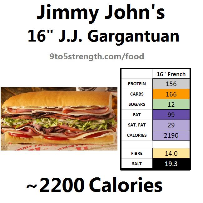 jimmy john's nutrition information calories jj gargantuan