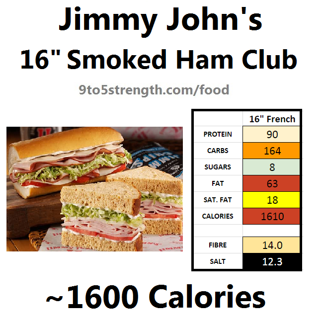 jimmy john's nutrition information calories smoked ham club