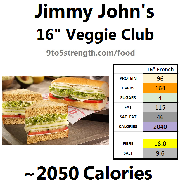 jimmy john's nutrition information calories veggie club