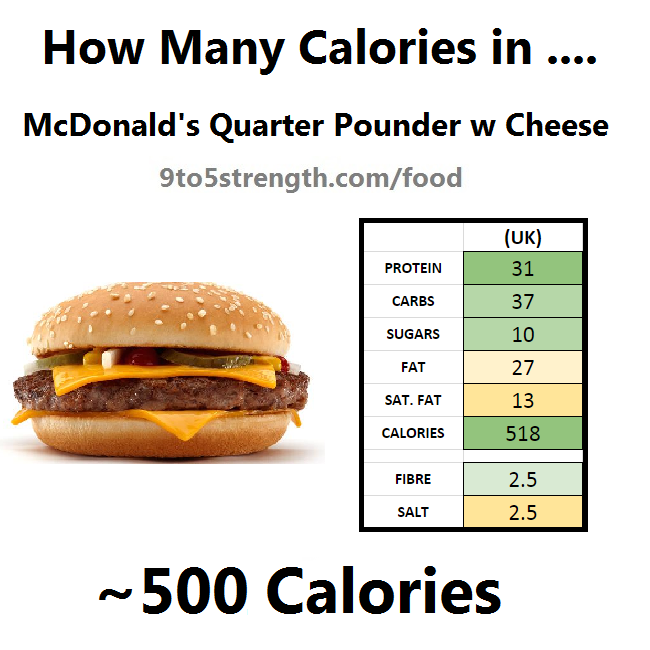 how many calories in mcdonald's 1/4 quarter pounder with cheese