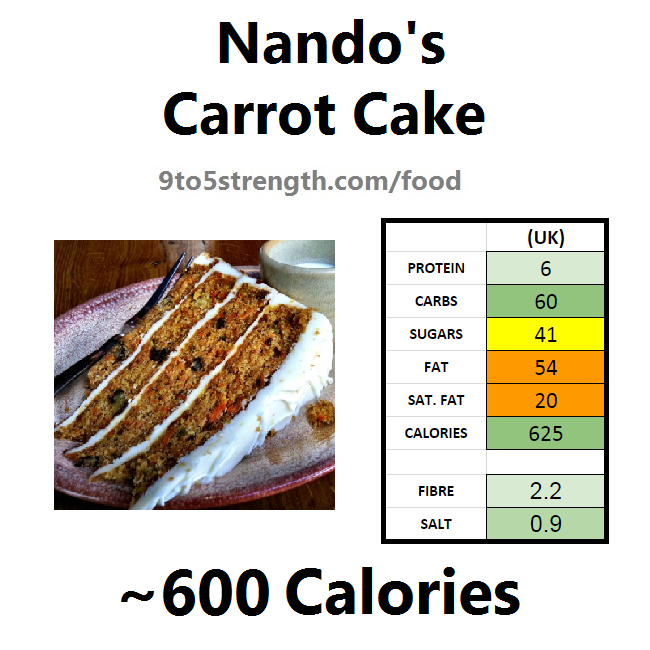 nutrition information calories nando's carrot cake