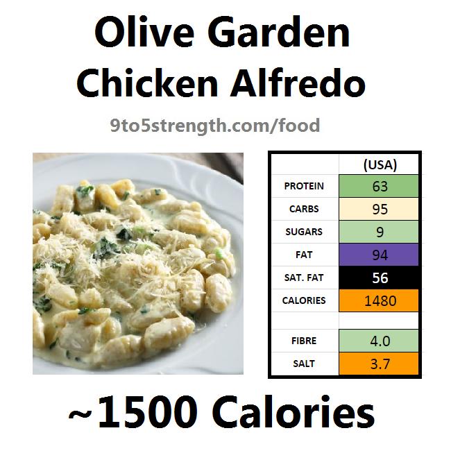 olive garden nutrition information calories chicken alfredo