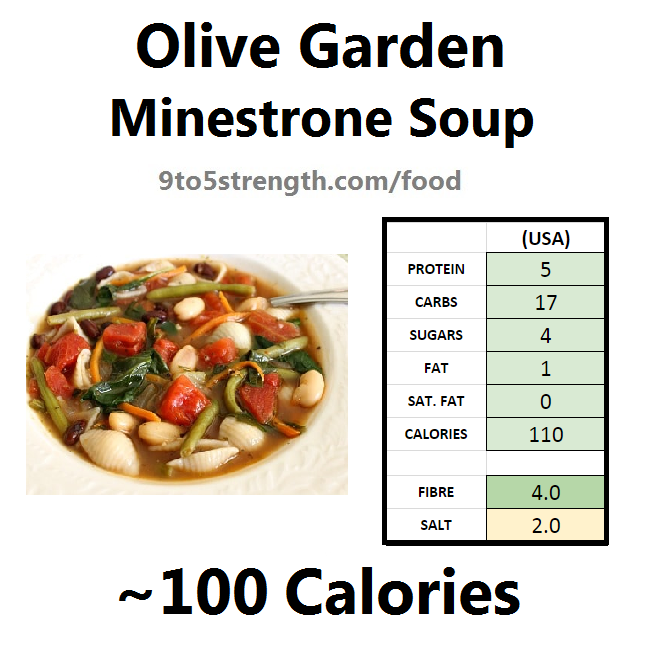 olive garden nutrition information calories minestrone soup