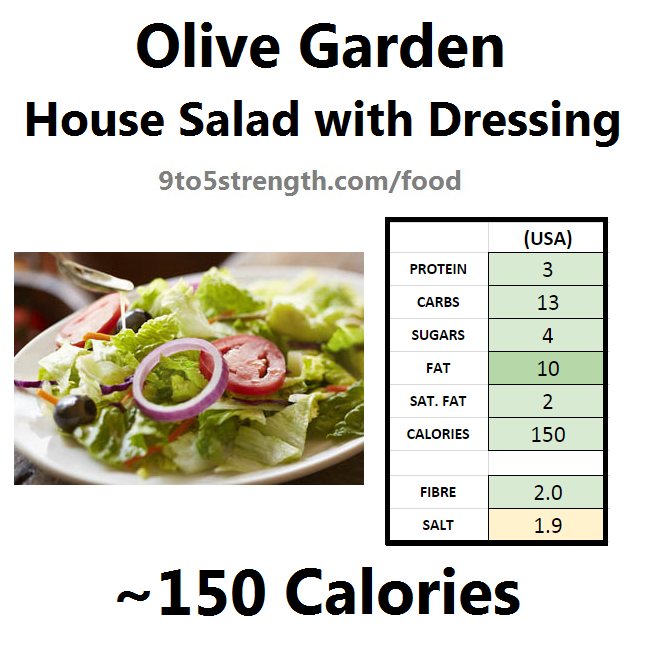 olive garden nutrition information calories house salad with dressing