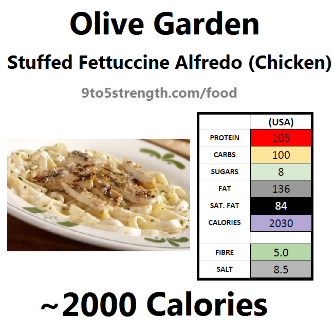 olive garden nutrition information calories stuffed fettuccine alfredo with chicken