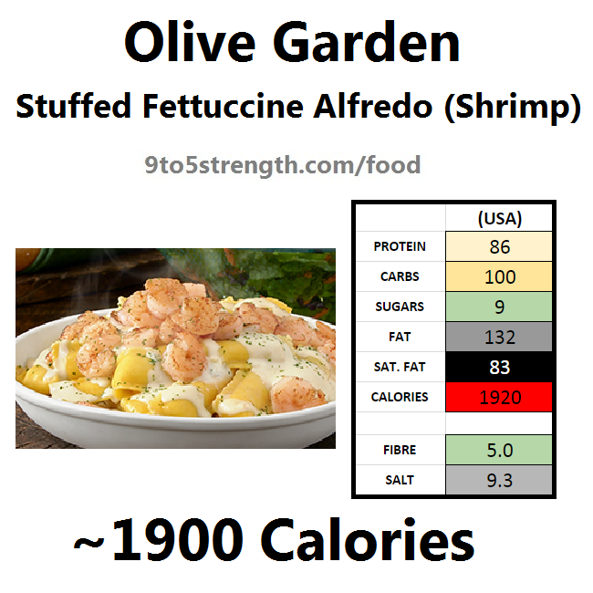 olive garden nutrition information calories stuffed fettuccine alfredo with shrimp