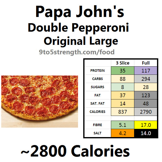 papa john's nutrition information calories original pepperoni