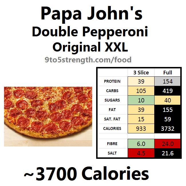 papa john's nutrition information calories original xxl