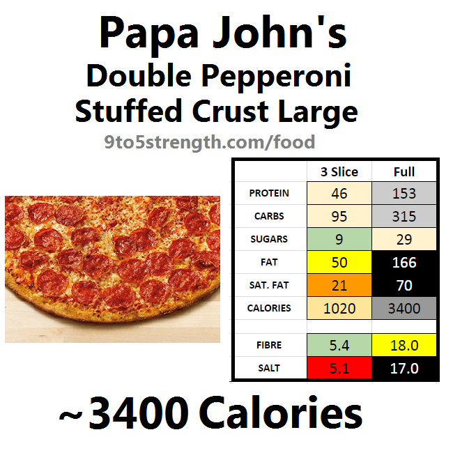 papa john's nutrition information calories stuffed crust