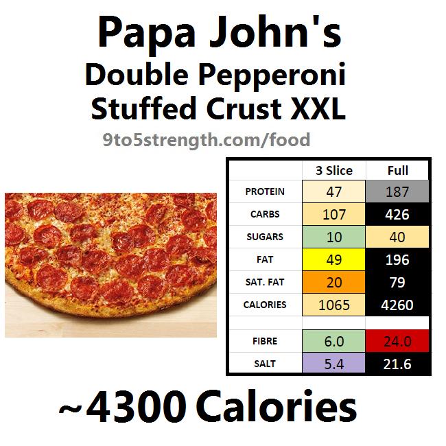 papa john's nutrition information calories stuffed crust xxl