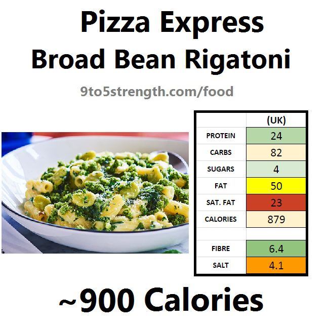 pizza express calories nutrition information broad bean rigatoni