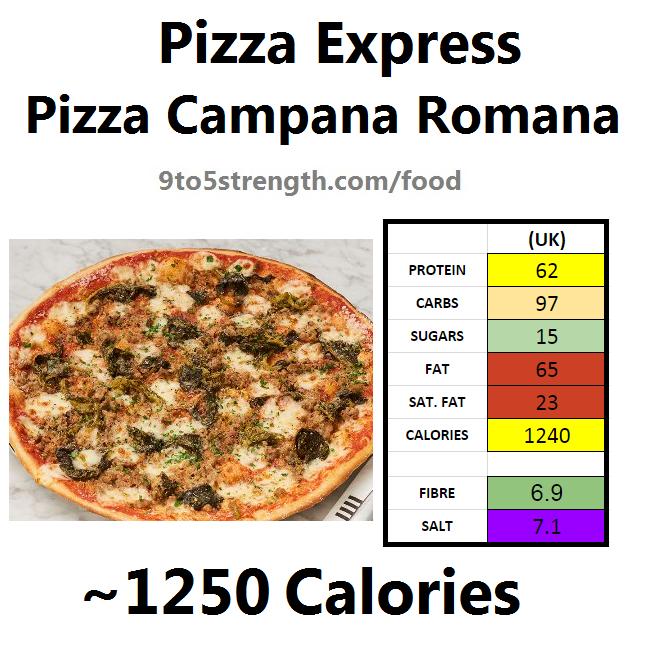 pizza express calories nutrition information camapana romana