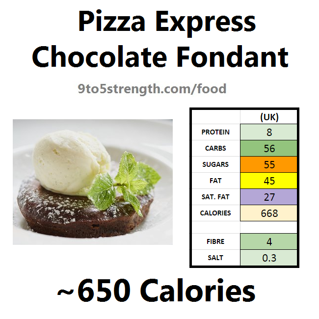 pizza express calories nutrition information chocolate fondant