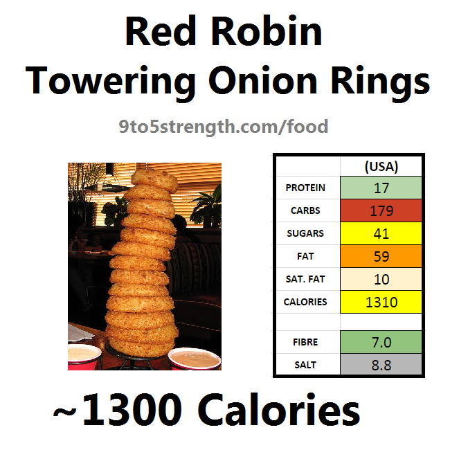 nutrition information calories red robin towering onion rings