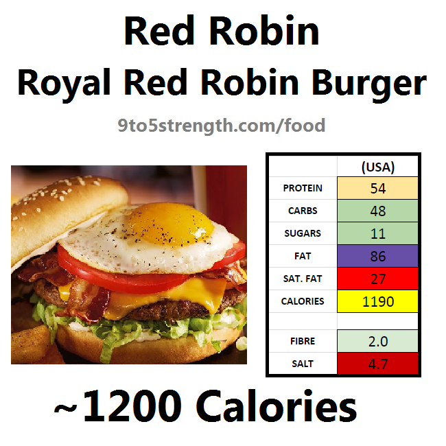 nutrition information calories red robin royal red robin burger