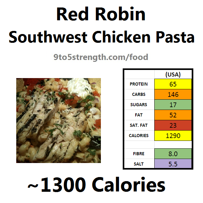 nutrition information calories red robin southwest chicken pasta