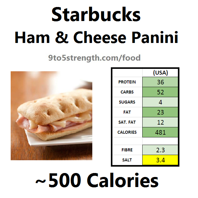 starbucks nutrition information calories ham and cheese panini
