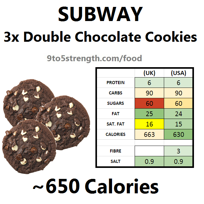 subway nutrition information calories chocolate chip cookies