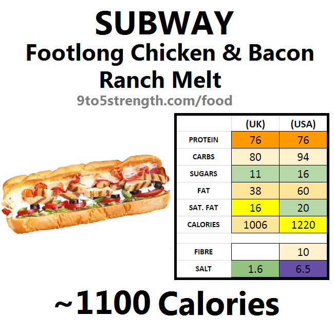 subway nutrition information calories chicken & bacon ranch melt