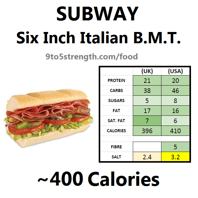 subway nutrition information calories italian b.m.t.