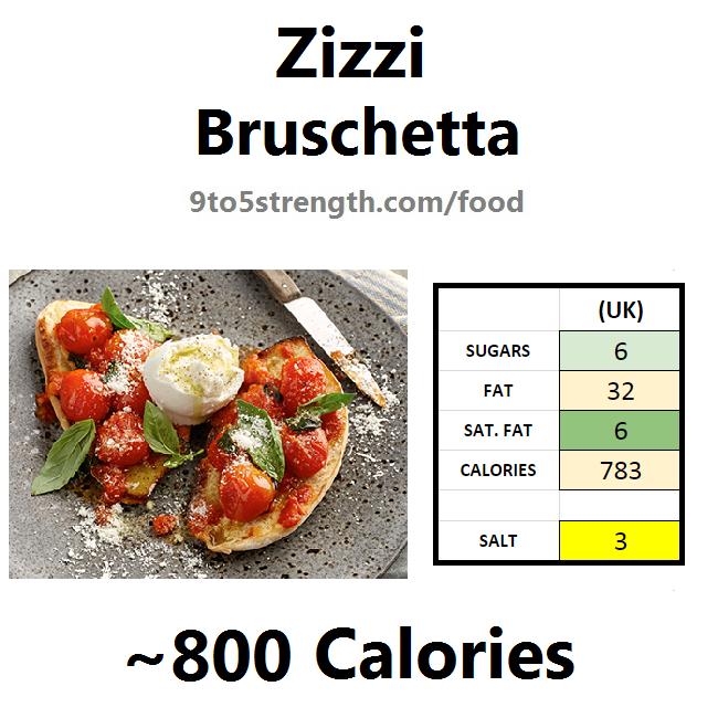 nutrition information calories zizzi bruschetta