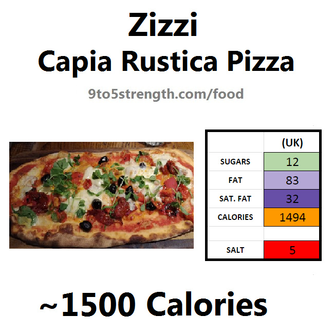 nutrition information calories zizzi capia rustica pizza