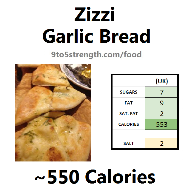 nutrition information calories zizzi garlic bread