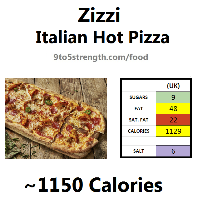 nutrition information calories zizzi italian hot pizza
