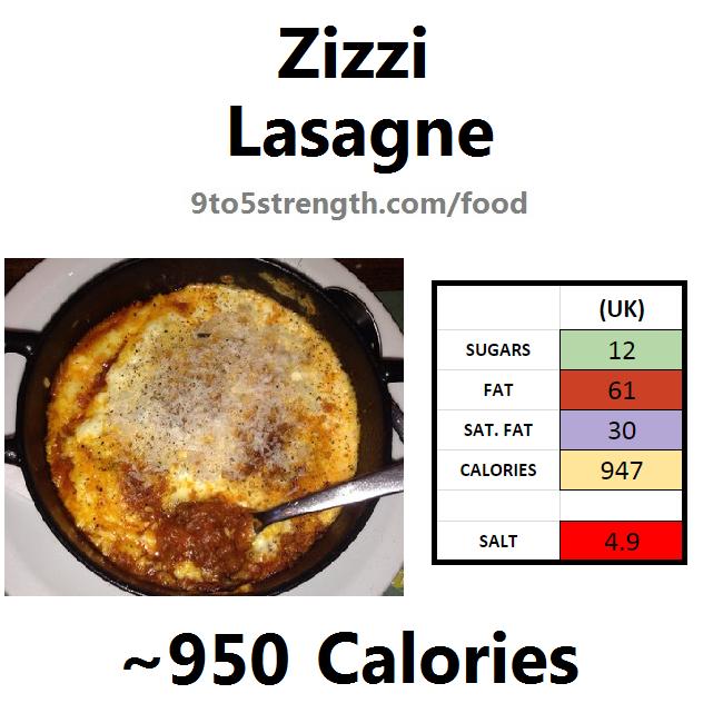 nutrition information calories zizzi lasagne