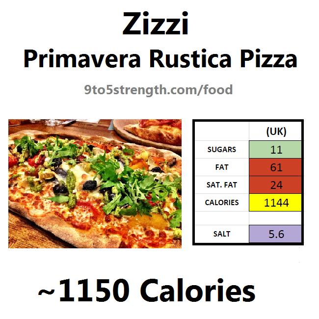 nutrition information calories zizzi primavera rustica pizza
