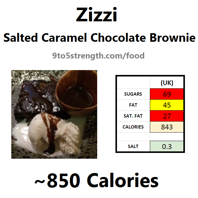 nutrition information calories zizzi salted caramel chocolate brownie
