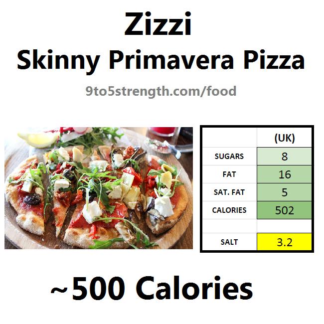 nutrition information calories zizzi skinny primavera pizza