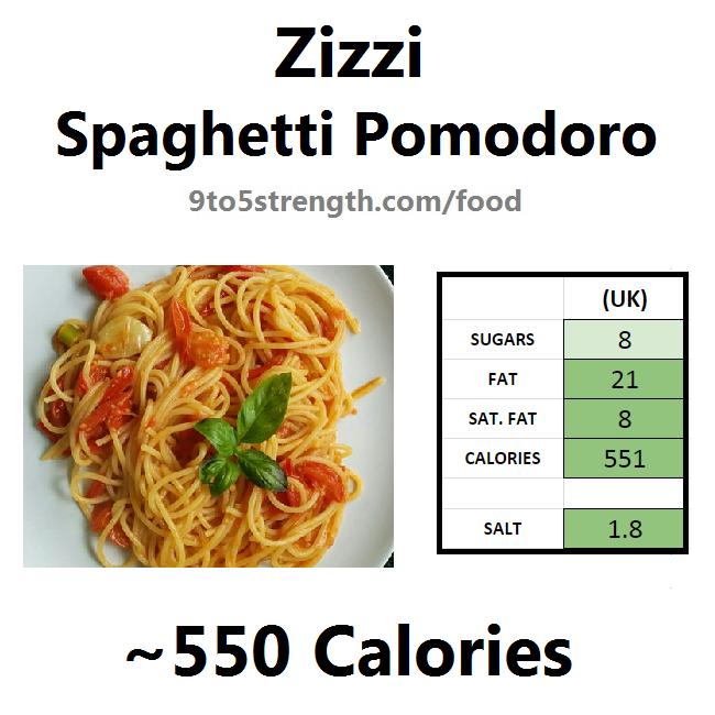 nutrition information calories zizzi spaghetti pomodoro