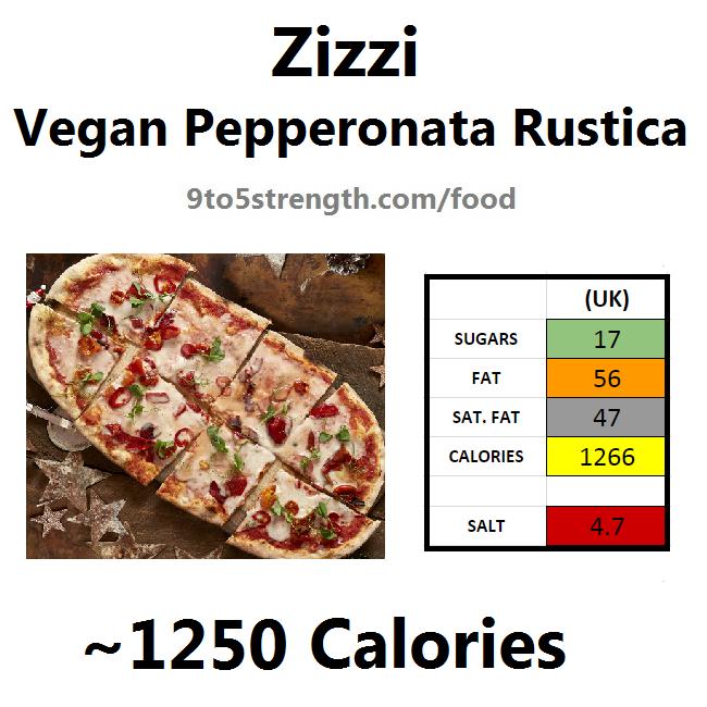 nutrition information calories zizzi vegan pepperonata rustica