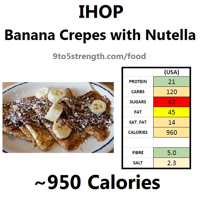 nutrition information calories IHOP banana crepes nutella