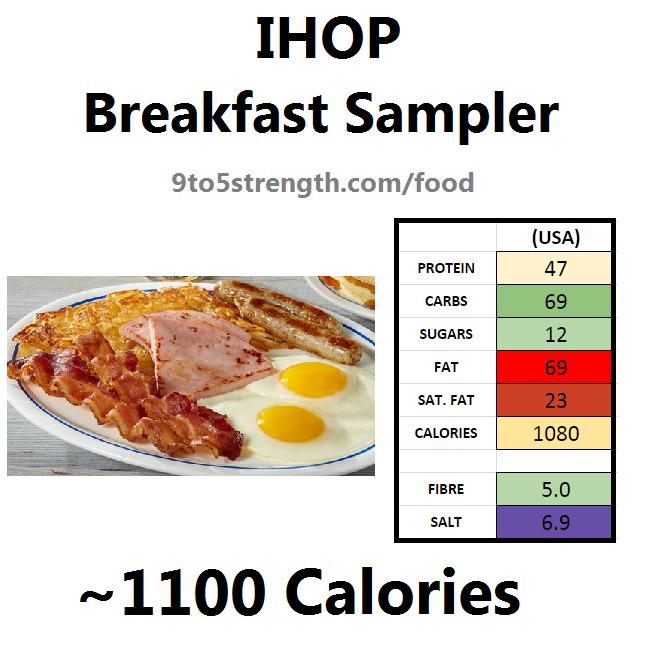 nutrition information calories IHOP breakfast sampler